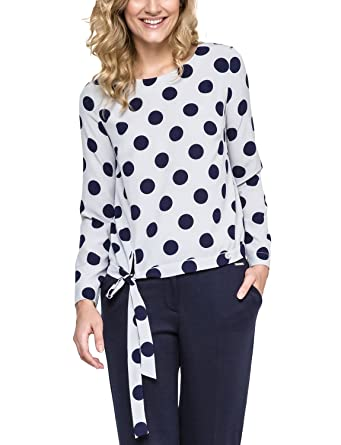 Ennywear 240121 womens shirt polka dot long sleeved zip -, grey-dark blue,