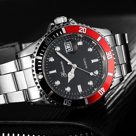 Kycut Reloj de pulsera analógico de cuarzo con fecha y fecha de acero inoxidable para hombre: Amazon.es: Belleza
