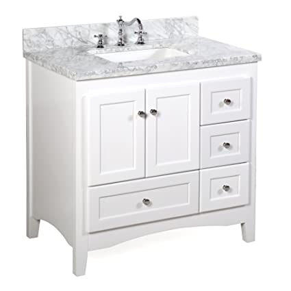 Abbey 36 Inch White Bathroom Vanity Carrara White Includes Soft Close Drawers And Doors And Rectangular Ceramic Sink Amazon Com