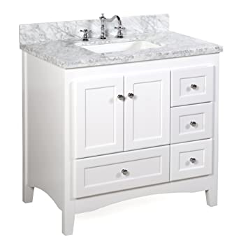 Genial Abbey 36 Inch White Bathroom Vanity (Carrara/White): Includes Soft Close