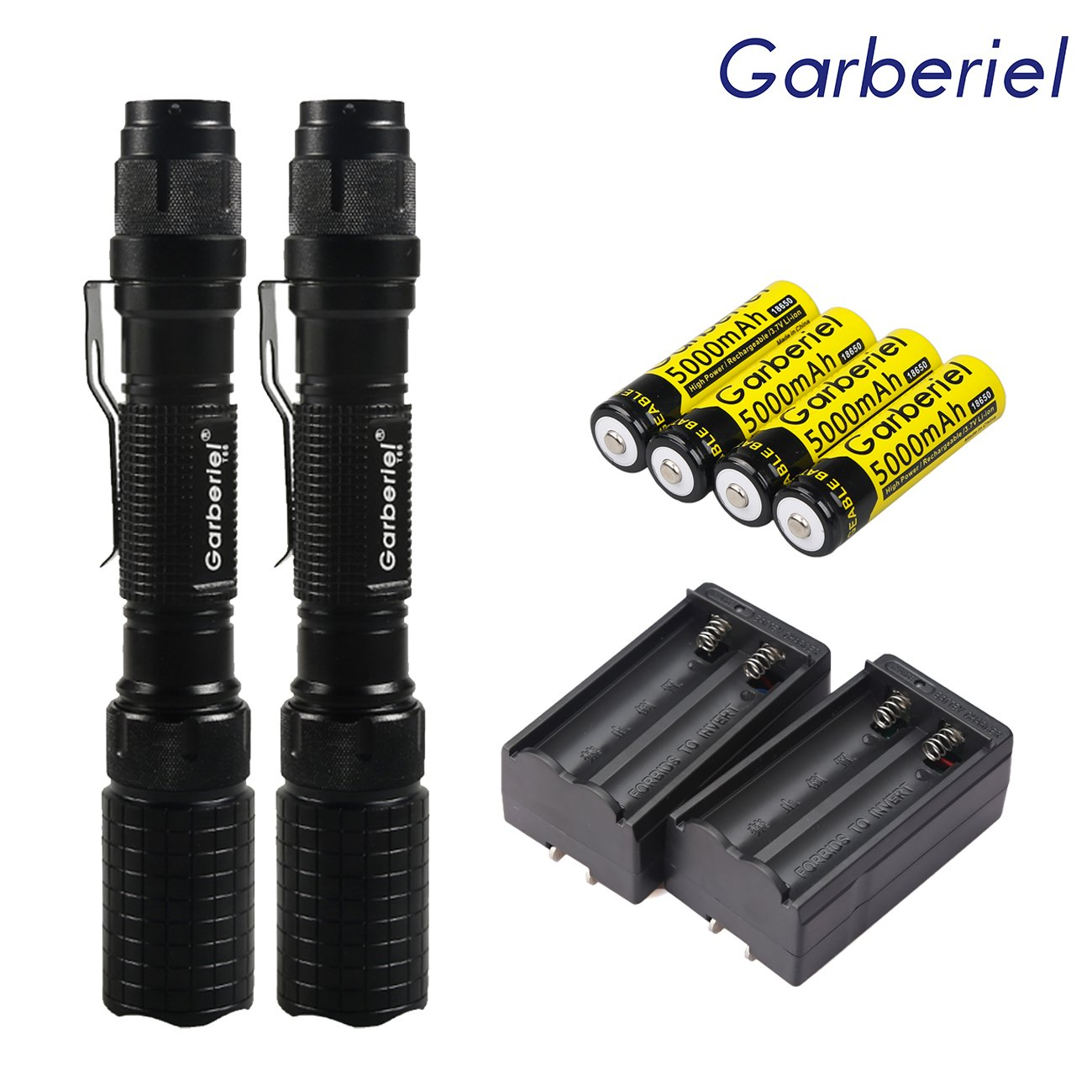 2 SETS Police Tactical 5 Modes Rechargeable Led Flashlight 18650 T6 XML Torch +18650 Battery + Charger