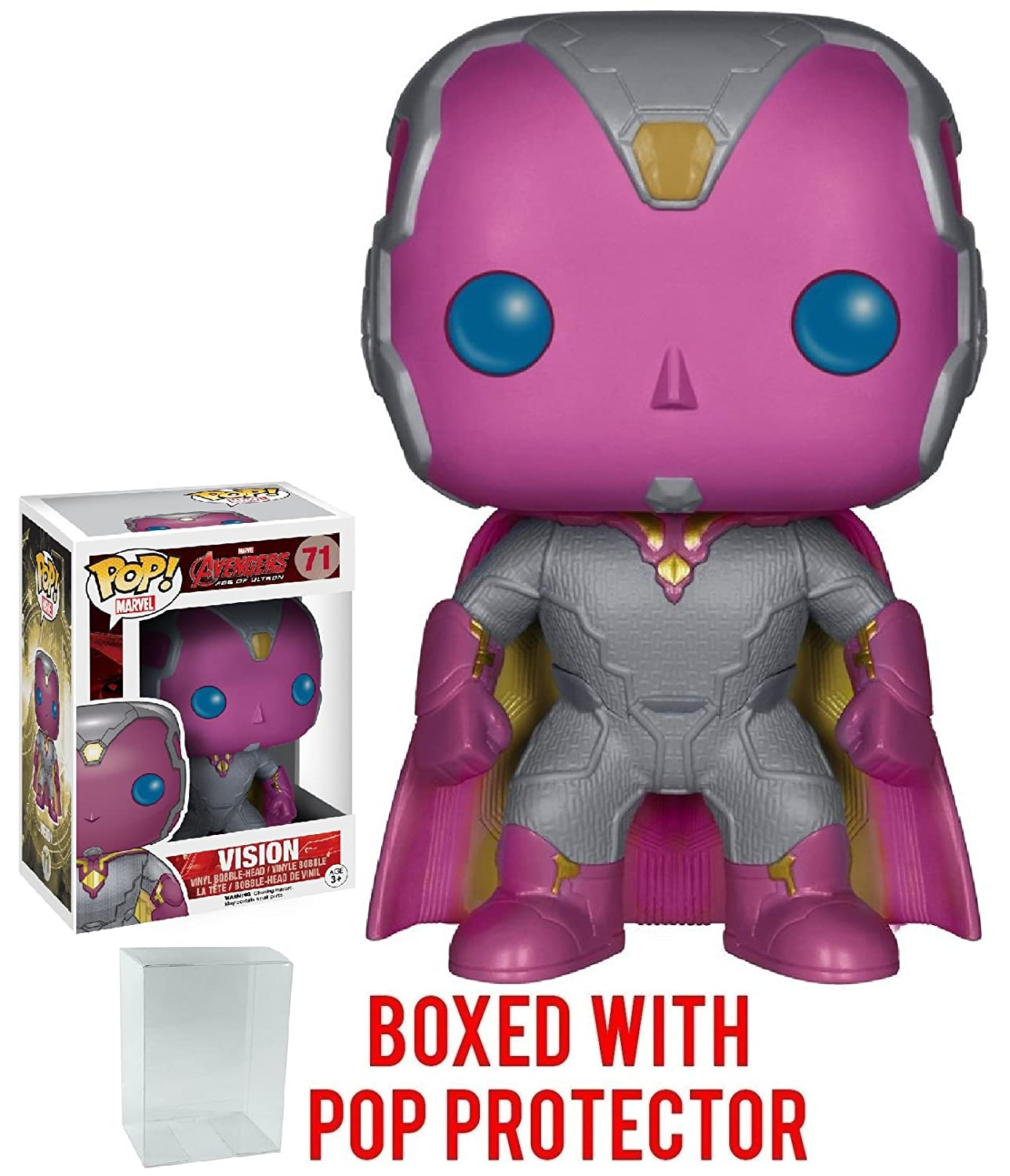 Vision Vinyl Figure Bundled with Pop Box Protector CASE Marvel: Avengers 2 Age of Ultron Funko Pop