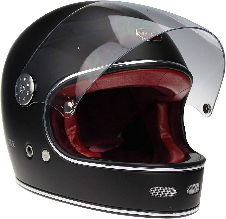 Noir mat VIPER RIDER Casque int/égral en fibre de verre F656 Style r/étro classique