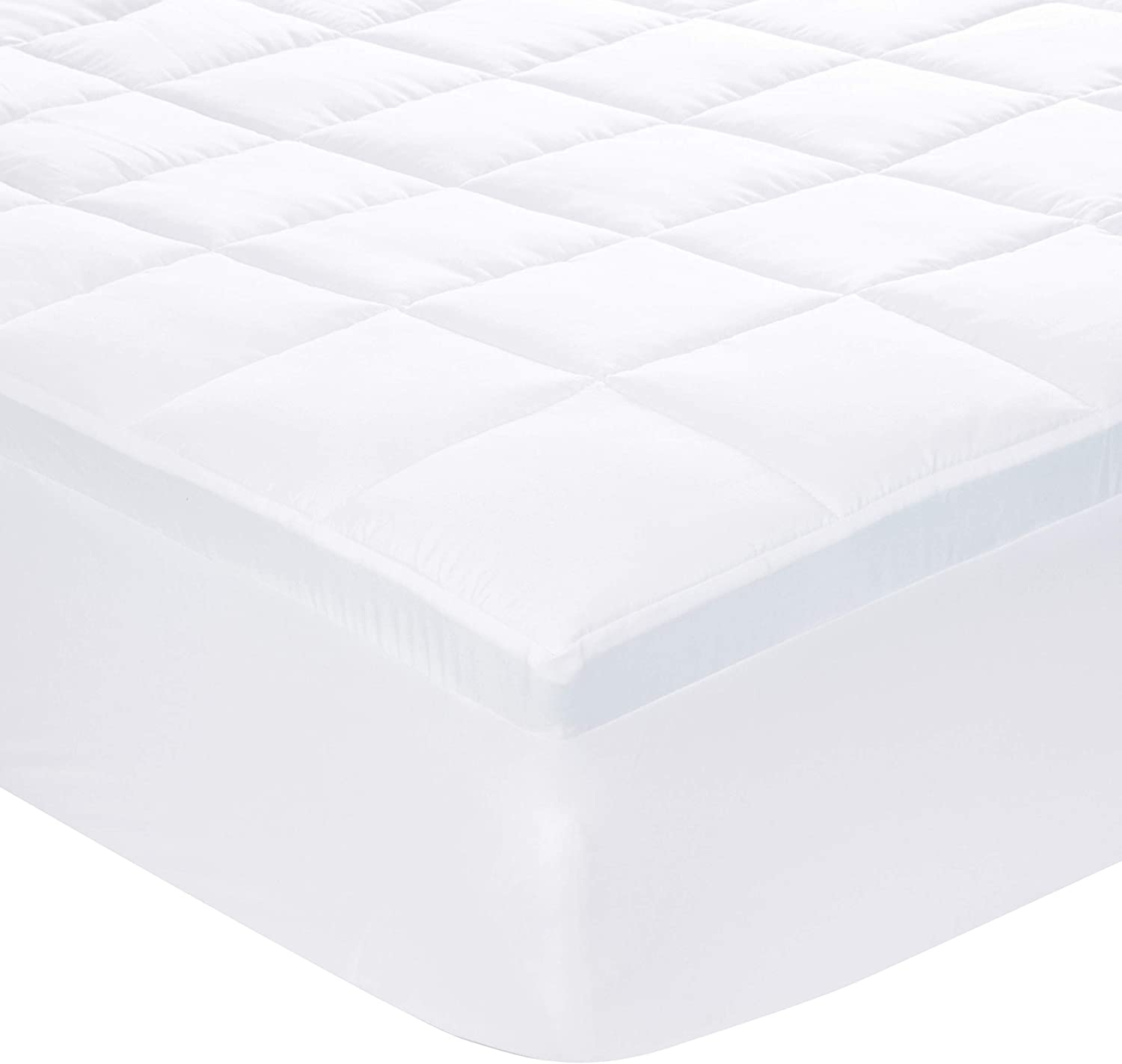 AmazonBasics Down-Alternative Gusseted Mattress Bed Topper Pad with 2-Inch Memory Foam - Full