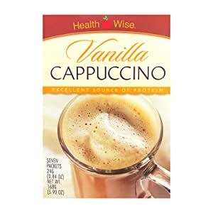 Healthwise - High Protein Diet Hot Drink - Vanilla Cappuccino - Instant Weight Loss Cappuccinos - 15g Protein - Low Sugar - Low Carb - Low Calorie (7/Box)
