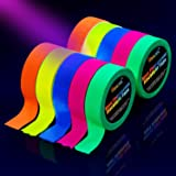 UV Blacklight Reactive Tape [10 Rolls], Fluorescent Neon Gaffer Tapes, 5 Colors, 0.6 inch 16.8ft. per roll, for Black…