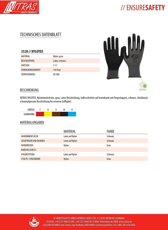 11//XXXL NITRAS Nylotex 3520 Lot de 12 paires de gants de travail en nylon