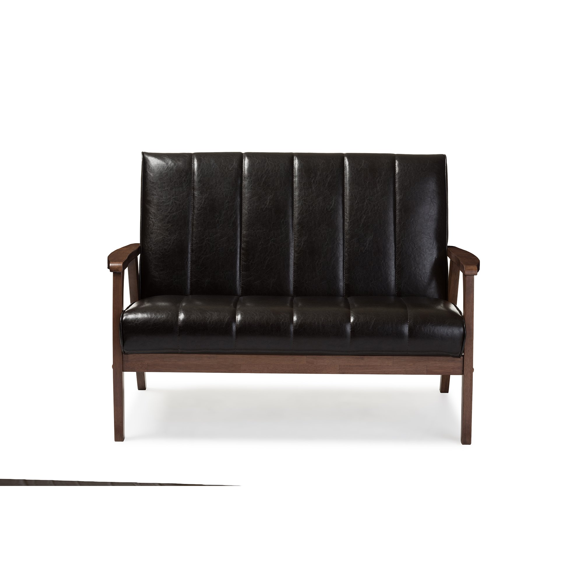 Baxton Studio Nikko Mid-century Modern Scandinavian Style Dark Brown Faux Leather Wooden 2-Seater Loveseat by Baxton Furniture Studios (Image #2)