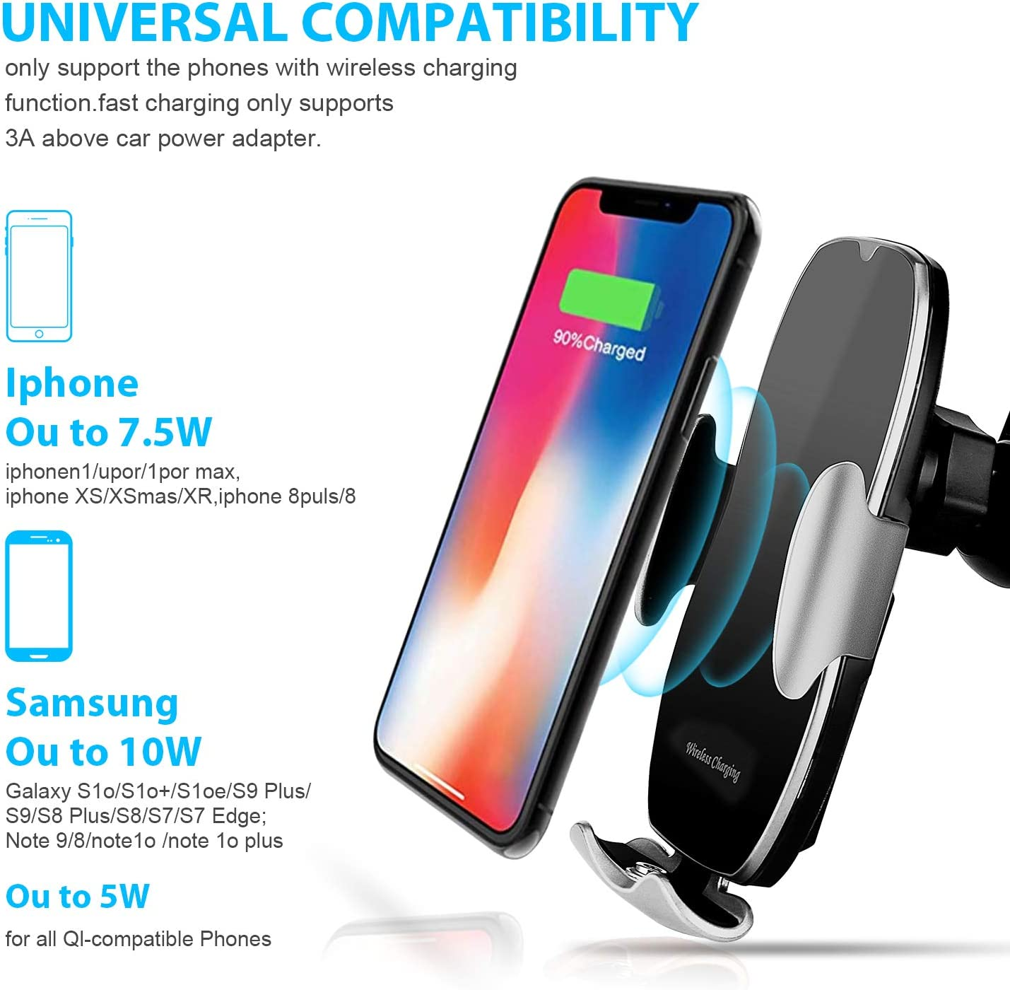 Black Smart Sensor Wireless Car Charger Touch Sensing Automatic Retractable Clip 10W Qi Fast Charging Phone Holder Compatible for iPhone 11//11 Pro Max//Xs Max//XR//X//8//8Plus Samsung S10//S9//S8//Note 8
