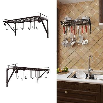 Soporte para maceta de hierro con gancho, para colgar ollas y sartenes de cocina, organizador para almacenamiento de utensilios de cocina: Amazon.es: Hogar