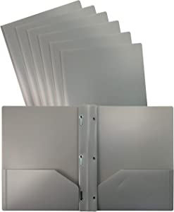 Better Office Products Gray Plastic 2 Pocket Folders with Prongs, 24 Pack, Heavyweight, Letter Size Poly Folders with 3 Metal Prongs Fastener Clips, Gray
