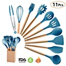 Silicone Cooking Utensils Kitchen Utensil Set with Holder, MIBOTE 10 Pieces Acacia Wooden Cooking Tool Turner Tongs Spatula Spoon for Nonstick Cookware - Best Kitchen Tools Gadgets (Blue)