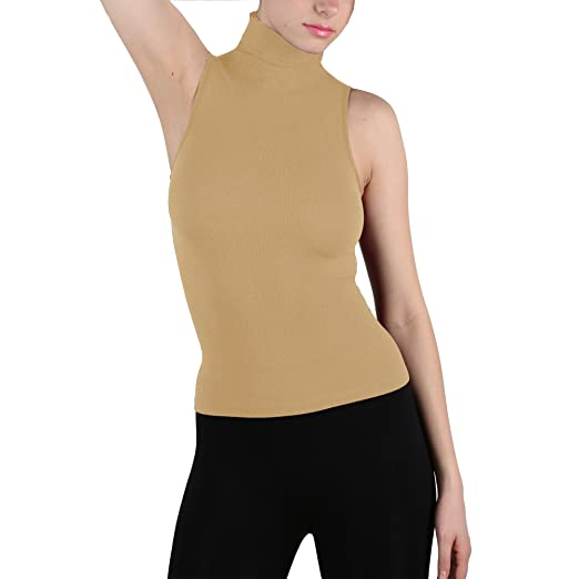 7ef84984bb6b6 Seamless Ribbed Sleeveless Mock Neck Turtleneck Shaping Tank Top Hot Tee  (Beige)