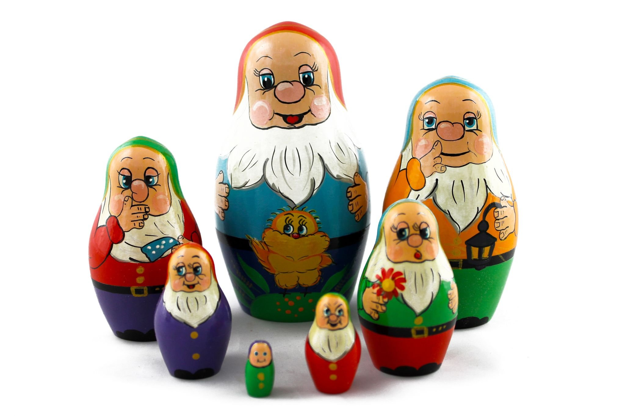 Matryoshka Russian Nesting Doll Babushka Beautiful Dwarf Seven Dwarfs Set 7 Pieces Pcs Hand Painted Handmade Souvenir Gift Handicraft by MATRYOSHKA&HANDICRAFT (Image #5)