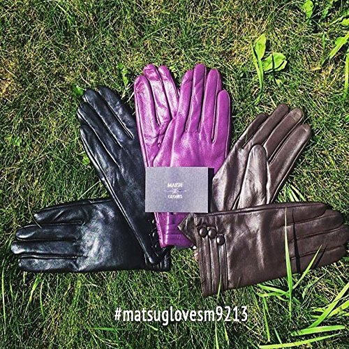 MATSU Fashion Women Winter Warm Leather Gloves 5 Colors M9213 (M, Brown (Long Fleece or Cashmere lining)) by Matsu Gloves (Image #2)