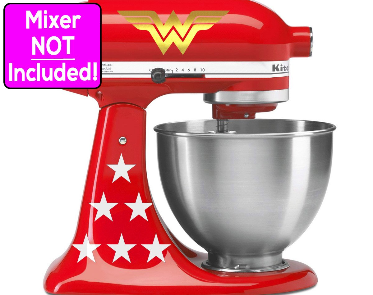 Wonder Woman sticker set for KitchenAid stand mixers (Metallic Gold logos w/white stars) NO MIXER INCLUDED - Decals ONLY by Sunbeam Decals