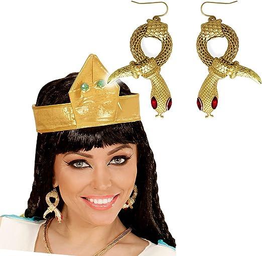 NET TOYS Pendientes de Serpiente faraona Aros Cleopatra Clips Orejas egipcios Joyas Reina egipcia Bisutería de Diosa de la antigüedad Accesorio Disfraz Mujer: Amazon.es: Juguetes y juegos