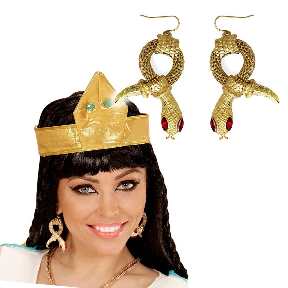 Amakando Aros Cleopatra Pendientes de Serpiente faraona Joyas Reina egipcia Accesorio Disfraz Mujer Clips Orejas egipcios Bisutería de Diosa de la ...