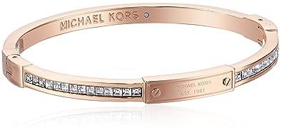 c8a83ce73df5 Amazon.com  Michael Kors Rose Gold Tone Pave Hinge Bangle Bracelet ...
