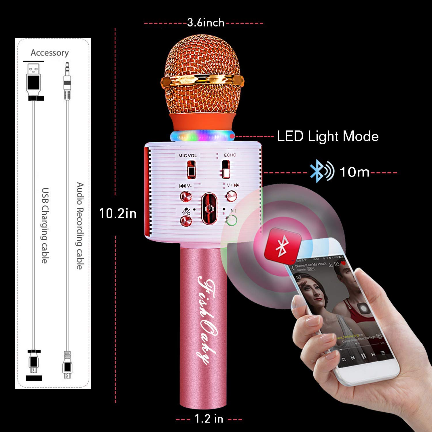 FishOaky Wireless Bluetooth Karaoke Microphone, Portable Kids Microphone Karaoke Player Speaker with LED & Music Singing Voice Recording for Home KTV Kids Outdoor Birthday Party (Rose Gold) by FishOaky (Image #3)