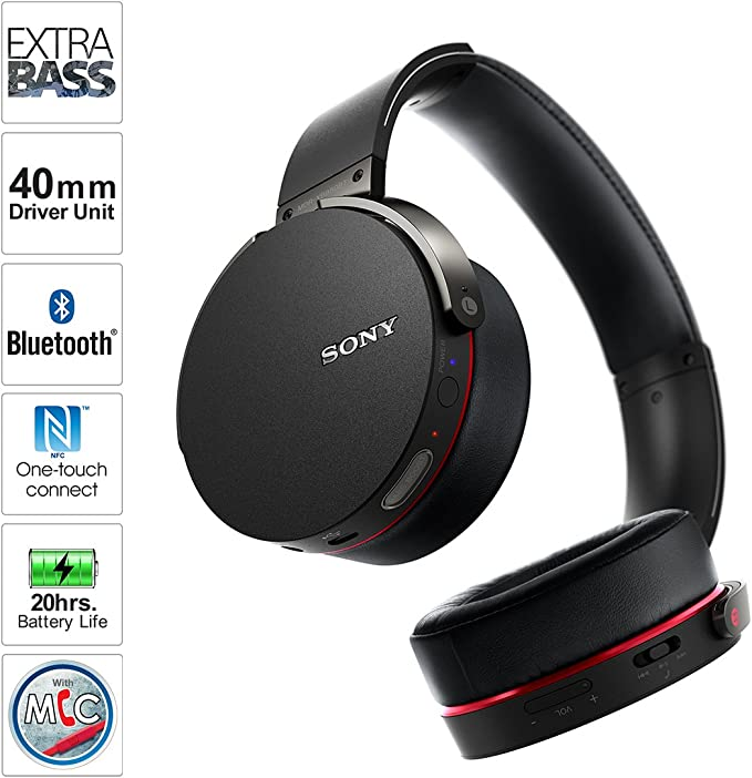 Amazon Com Sony Mdrxb950bt B Extra Bass Bluetooth Headphones Black Home Audio Theater