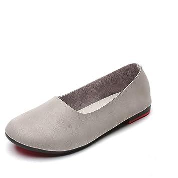 Zapatos de Mujer Boca Plana Plana con Zapatos de Madre Zapatos Planos de tacón Plano Zapatos