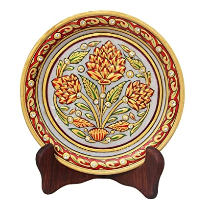 HANDICRAFTS PARADISE Floral Pattern ON Marble Plate HPMR15168