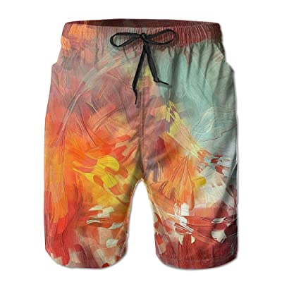 DIMANNU Men's Shorts Swim Beach Trunk Summer Yellow Leaves Painting Athletic Fashion Shorts With Pockets