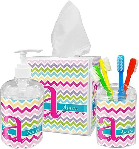 243f37aaf25 Amazon.com: RNK Shops Colorful Chevron Bathroom Accessories Set ...