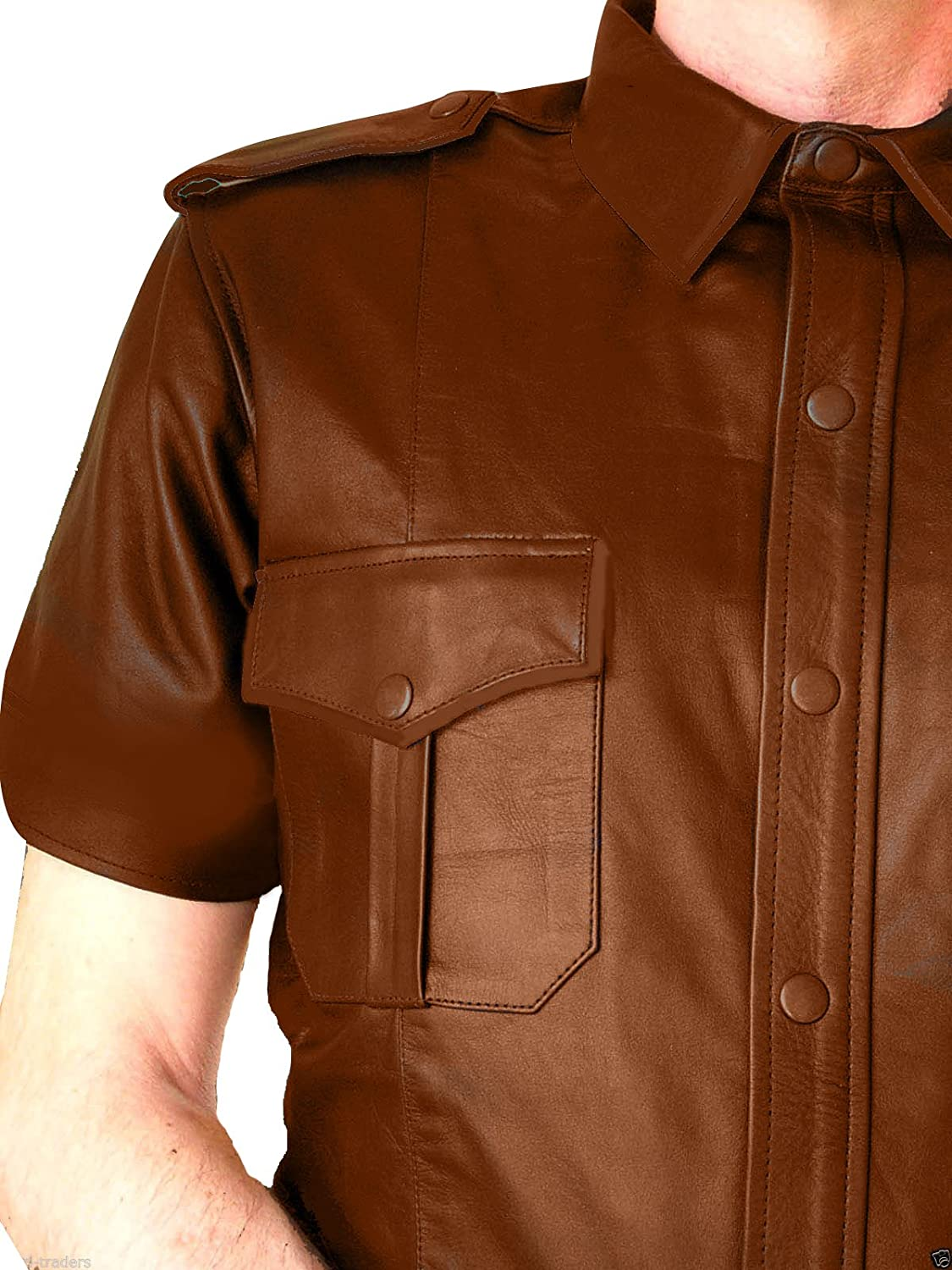 Leather Police Uniform Mens Very HOT Gay Genuine Real Shirt BLUF