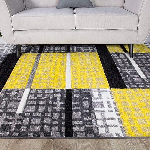 The Rug House Alfombra Patchwork para Sala de Estar con diseño de Cuadros Bohemios en Colores Ocre Amarillo Mostaza y Dorado 80cm x 150cm: Amazon.es: Juguetes y juegos