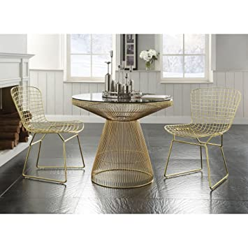 ACME Furniture 72105 Rasia Dining Table Gold Clear Glass