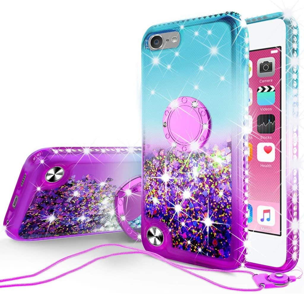 Galaxy Wireless New iPod Touch Case,iPod Touch 5th/6th/7th Generation Case Liquid Glitter Quicksand Bling Sparkle Diamond Ring Stand Cases Compatible for Apple iPod Touch 5/6/7,Teal/Purple