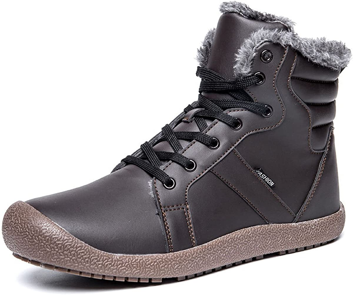 LseLom-Hiking-Boots-Boys-Non-Slip Ankle Work Boot Waterproof Outdoor Kids Fashion Shoes Winter Warm Shoes with Zipper Lace-Up Bootie for Boys