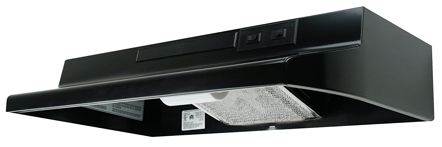 Air King AV1246 Advantage Convertible Under Cabinet Range Hood with 2-Speed Blower and 180-CFM, 7.0-Sones, 24-Inch Wide, Black Finish AK AV1246