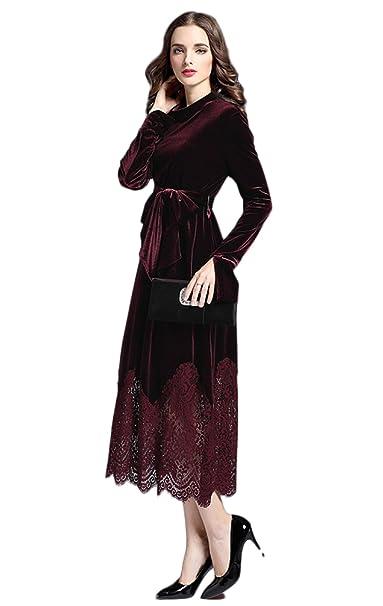 Vestidos Vestidos De Las Mujeres De Terciopelo De Encaje Otoño E Invierno Temperamento Cintura Alta De