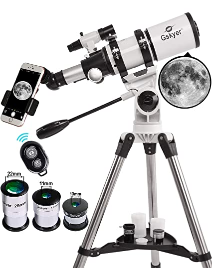 Telescope, Gskyer 80mm Aperture Astronomy Refractor Telescope with  Smartphone Adapter and Wireless Camera Remote - Good Partner to View Moon  and