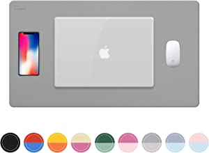 "Towwi Dual Sided Desk Pad, 24"" x 14"" PU Leather Desk Mat, Waterproof Desk Blotter Protector Mouse Pad (Gray/Sliver)"