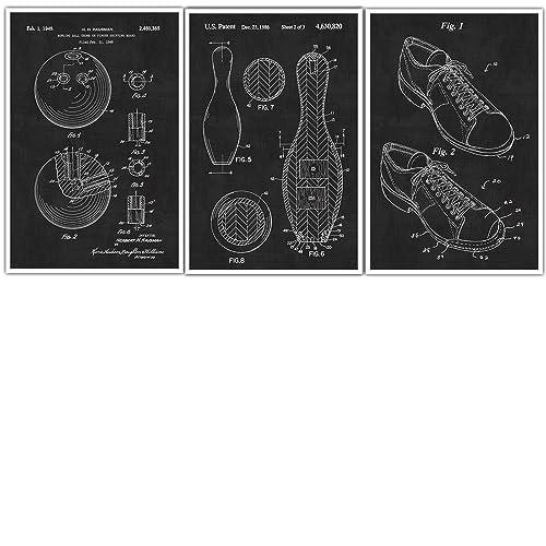 Amazon.com: Bowling Patent Prints Set of 3 - Bowling Poster ...
