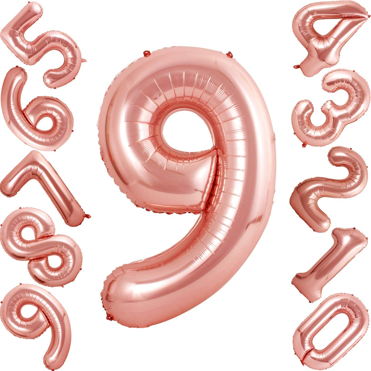 40 inch Rose Gold Number Balloons Helium Foil Balloon for Birthday Party Decorations Supplies Number 2 Balloon
