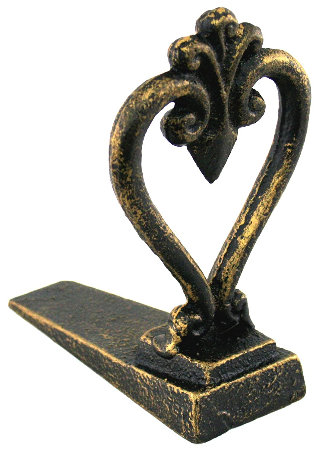 Antique Bronze Coloured Heart Doorstop Wedge marymarygardens