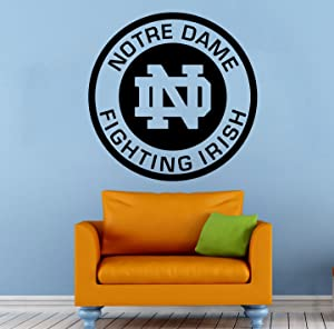 "Notre Dame Logo Wall Vinyl Decal Sticker Fighting Irish NCAA College Football Sport Home Interior Removable Decor (22""high X 22""Wide)"