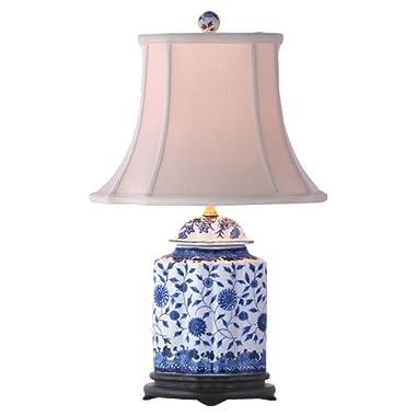 East Enterprises LPDBJH0810A Table Lamp, Blue/White