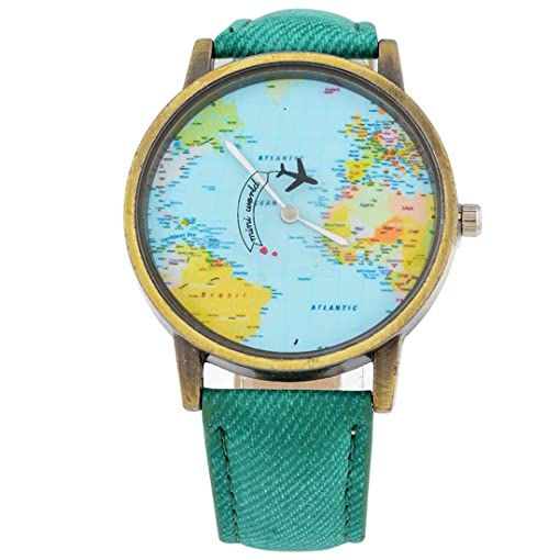 Souarts Womens Mint Green Cowboy Band World Map Plane Pattern Dial Quartz Analog Wrist Watch 24cm