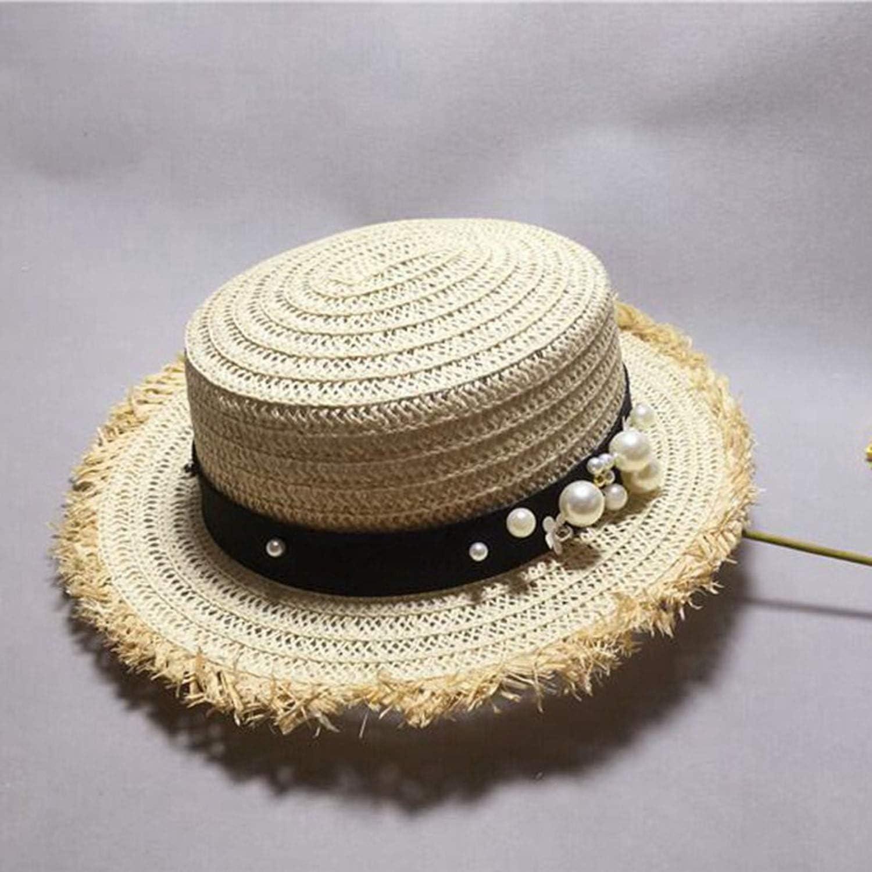 Lady Boater Sun Caps Ribbon Round Flat Top Straw Beach Panama Summer for Women Straw Hat Snapback Gorras