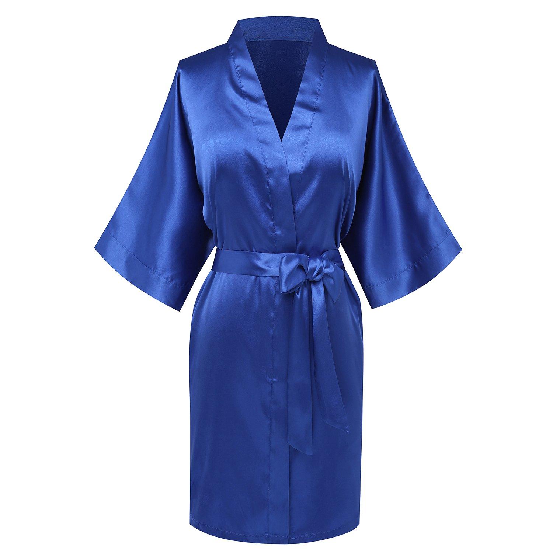 Goodmansam Women's Simplicity Stlye Bridesmaid Wedding Party Kimono Robes, Short,Azure Blue4,Medium