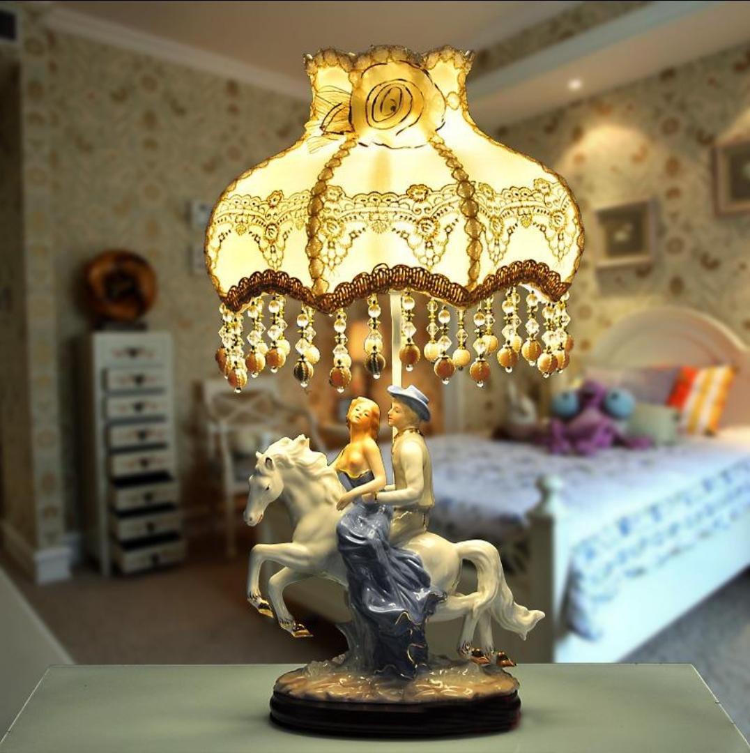 Keramik Tischlampe Schlafzimmer Nachttischlampen dekoriert Hochzeit Raum warm retro niedliche Prinzessin große Tischlampe (ohne Lichtquelle)