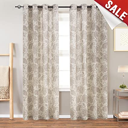 Amazon.com: jinchan Floral Scroll Printed Linen Curtains, Grommet ...