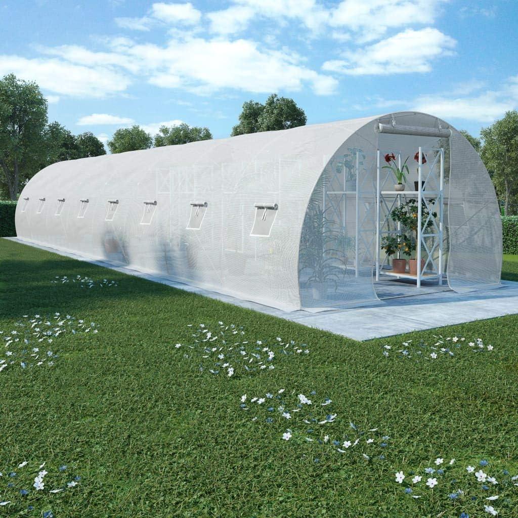 vidaXL Invernadero con Cimientos Acero 36m/² 1200x300x200cm Vivero Jardiner/ía Protecci/ón para Frutas Verduras Plantas Espacioso Robusto Estable
