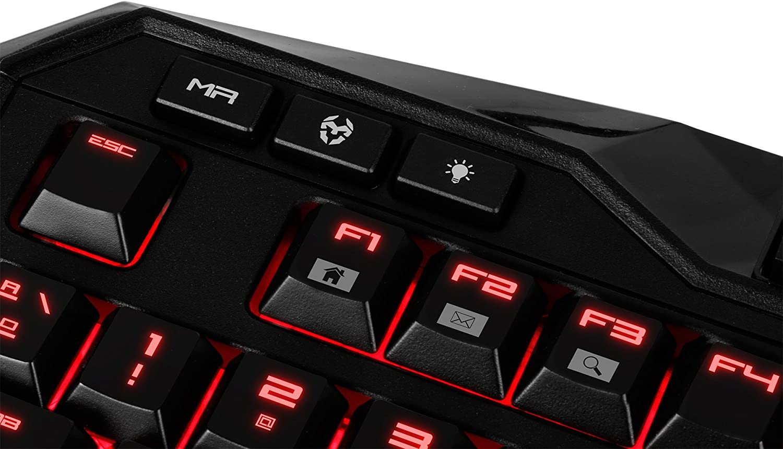 Krom NXKROMKHLN - Teclado (USB, retroiluminada, 32 KB), Color Negro y Rojo